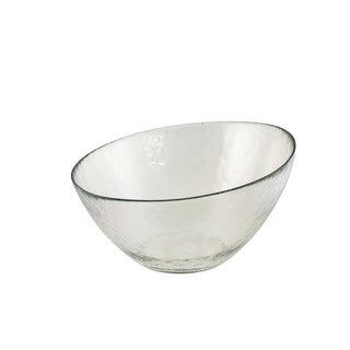 Hammered Glass 10-inch Angled Bowl (Set of 2)