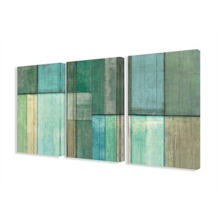 Stupell Home 'Blue and Green Abstract' 3-piece Triptych Canvas Wall Art Set