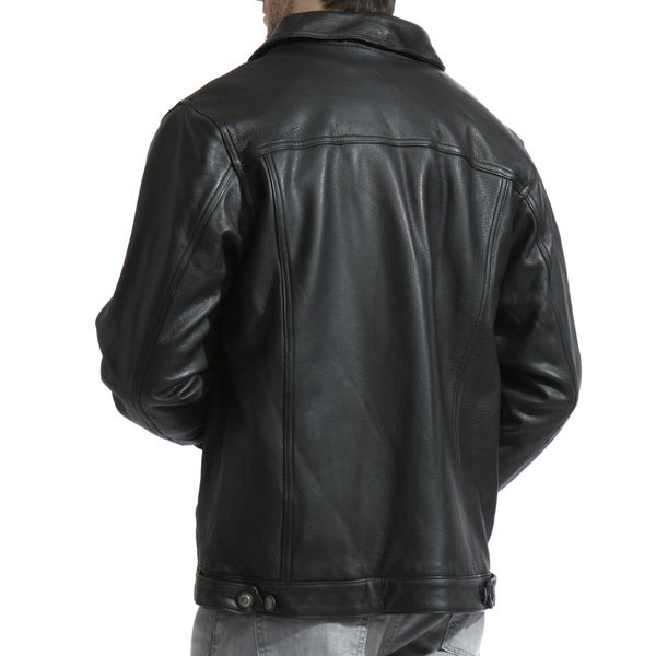 Men's Black Leather Jean Jacket - Free Shipping Today - Overstock ...