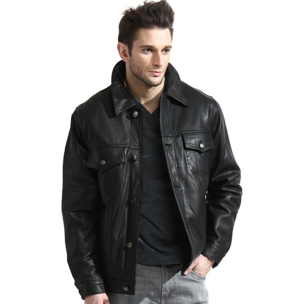 Tanners Avenue Men's Black Leather Jean Jacket - Free Shipping ...