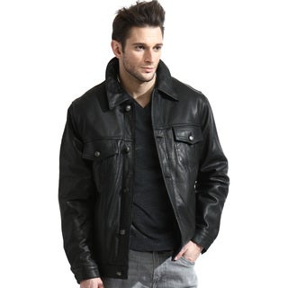 Men's Black Leather Jean Jacket