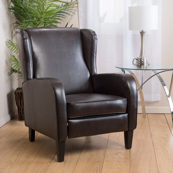 Carter Wing-Back Bonded Leather Recliner Chair by Christopher Knight Home - Free Shipping Today - Overstock.com - 17436040 & Carter Wing-Back Bonded Leather Recliner Chair by Christopher ... islam-shia.org