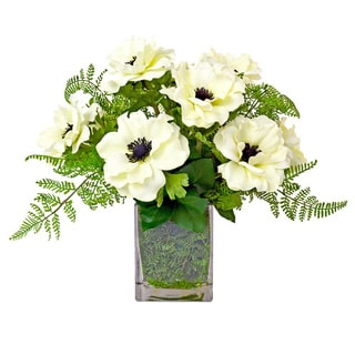 White Anemone Floral Arrangement Mixed WIth Ferns