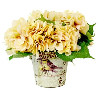 Cream Hydrangea Silk Floral Arrangement in Ceramic Bird Vase