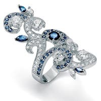 Silver Tone Cubic Zirconia and Sapphire Ring - Blue/n/a/White