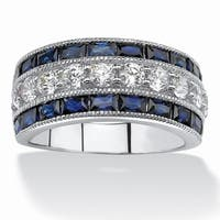 Platinum over Sterling Silver Cubic Zirconia and Blue Sapphire Ring - White
