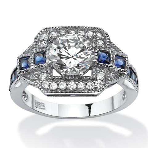Platinum over Sterling Silver CZ and Sapphire Engagement Ring - Blue/White