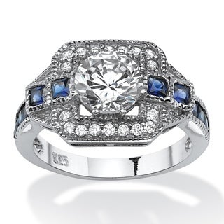 PalmBeach 2.46 TCW Round Cubic Zirconia Art Deco-Inspired Halo Ring in Platinum over Sterling Silver Glam CZ