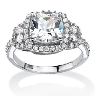 2.26 TCW Cushion-Cut Cubic Zirconia Halo Ring in Platinum over Sterling Silver Glam CZ