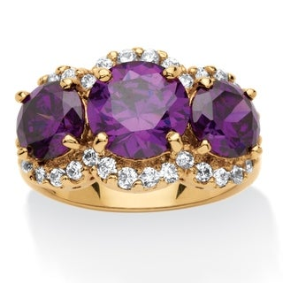 Yellow Gold-plated Cubic Zirconia 3-Stone Ring - Purple/White (5 options available)