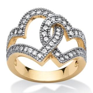 1.06 TCW Classic Cubic Zirconia Interlocking Hearts Ring