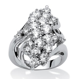 3.44 TCW Cubic Zirconia Cluster Cocktail Ring Platinum-Plated Glam CZ
