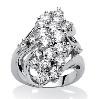 3.44 TCW Cubic Zirconia Cluster Cocktail Ring Platinum-Plated Glam CZ (4 options available)
