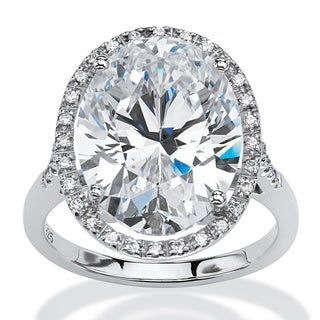 9.49 TCW Oval-Cut Cubic Zirconia Halo Ring in Platinum over Sterling Silver Glam CZ
