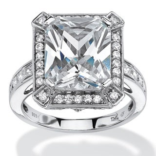 5.52 TCW Emerald-Cut Cubic Zirconia Halo Ring in Platinum over Sterling Silver Glam CZ