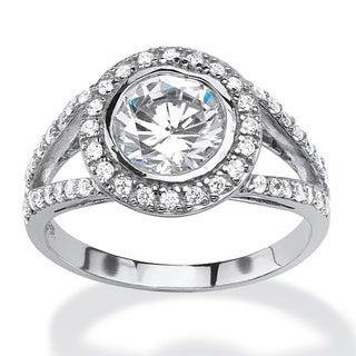PalmBeach 2.51 TCW Round Cubic Zirconia Halo Ring In Platinum Over .925 Sterling Silver Classic CZ