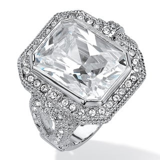 PalmBeach 14.25 TCW Emerald-Cut and Round Pave Cubic Zirconia Halo Cocktail Ring Platinum-Plated Glam CZ