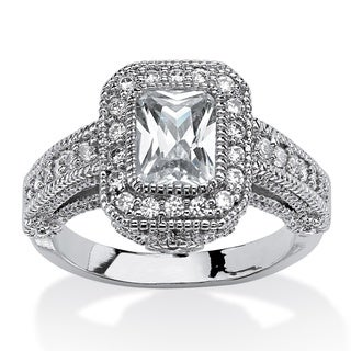 PalmBeach 2.26 TCW Emerald-Cut Cubic Zirconia Halo Ring with Raised Setting and CZ Accent Stones Classic CZ