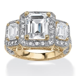 5.12 TCW Emerald-Cut Cubic Zirconia Halo Ring in 14k Gold over Sterling Silver Glam CZ