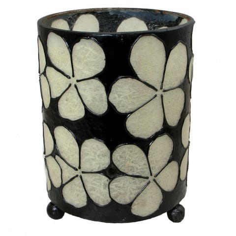 Handmade Hurricane Lantern White Petals Candleholder (Indonesia)