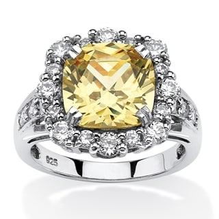 PalmBeach 3.62 TCW Cushion-Cut Canary Cubic Zirconia Halo Ring Set in Platinum Over .925 Sterling Silver Glam CZ