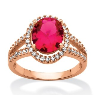 3.58 TCW Oval-Cut Lab Created Ruby Halo Ring Rose Gold over Sterling Silver Glam CZ
