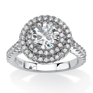 2.24 TCW Round Cubic Zirconia Double Halo Engagement Ring in Platinum Over .925 Sterling S