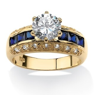 Yellow Gold over Sterling Silver CZ and Sapphire Engagement Ring - Blue/White
