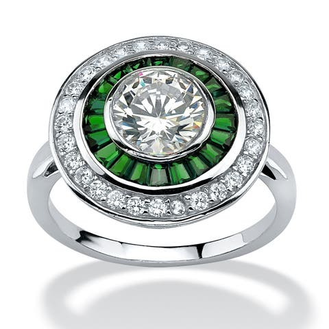 Platinum over Sterling Silver Cubic Zirconia and Emerald Ring - Green/White