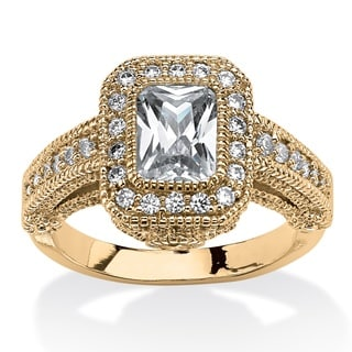 2.26 TCW Emerald-Cut Cubic Zirconia Halo Ring with 14k Gold-Plating and CZ Accent Stones C