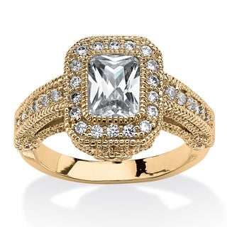 2.26 TCW Emerald-Cut Cubic Zirconia Halo Ring With Gold-Plating and CZ Accent Stones C