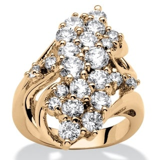 Yellow Gold-plated Cubic Zirconia Cluster Ring - White