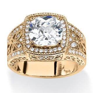 3.27 TCW Cushion-Cut Cubic Zirconia Cocktail Ring 14k Gold-Plated Glam CZ