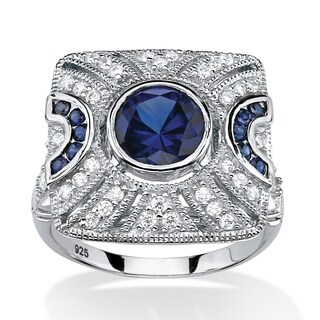 Platinum over Sterling Silver Blue Sapphire and Cubic Zirconia Ring - White