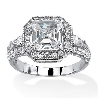 2.80 TCW Princess-Cut Cubic Zirconia Octagonal Halo Ring in Platinum Over .925 Sterling Si