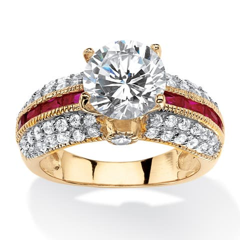 Gold over Sterling Silver Cubic Zirconia and Ruby Engagement Ring - Red/White