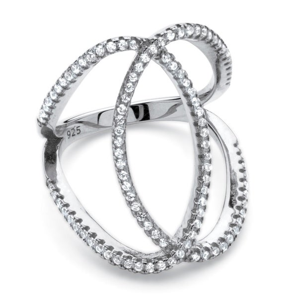 PalmBeach .50 TCW Cubic Zirconia Interlocking Loop Cocktail Ring in Platinum Over Sterling Silver Classic CZ