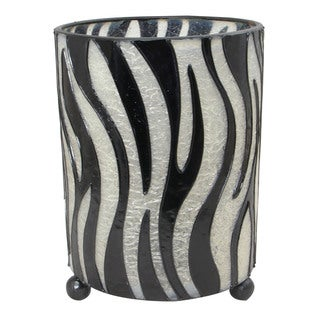 Hurricane Lantern Zebra Pattern Candleholder (Indonesia)