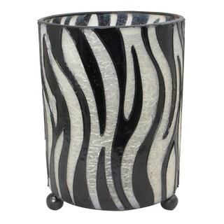 Handmade Hurricane Lantern Zebra Pattern Candleholder (Indonesia)
