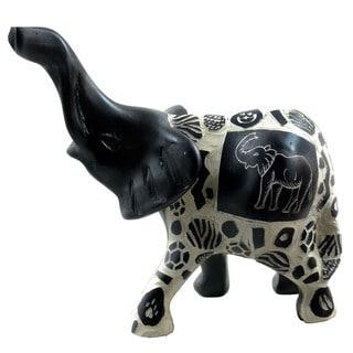 Handmade Elephant with Relief Animal Skin Patterns Statue (Kenya)
