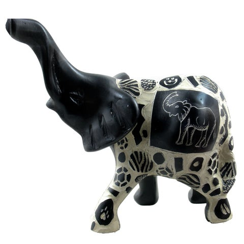 Handmade Elephant with Relief Animal Skin Patterns Statue (Kenya)