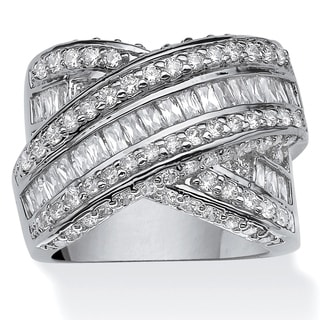 "PalmBeach 3.64 TCW Round and Baguette Cubic Zirconia Crossover ""X"" Ring Platinum-Plated Glam CZ"