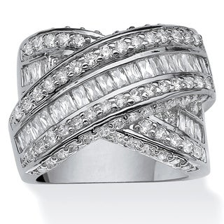 "3.64 TCW Round and Baguette Cubic Zirconia Crossover ""X"" Ring Platinum-Plated Glam CZ"