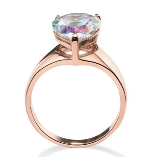 5.75 TCW Pear-Cut Aurora Borealis Cubic Zirconia Cocktail Ring in Rose Gold-Plated Color F