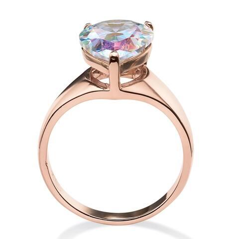 Rose Ion-plated Aurora Borealis Cubic Zirconia Ring - Multi