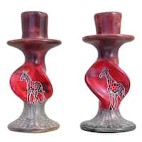 Handmade African Sunset Giraffe On Bold Twists Pair Candleholder (Kenya)