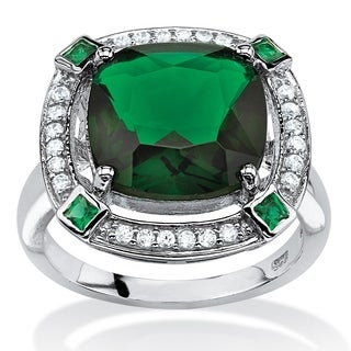 Platinum over Sterling Silver Simulated Emerald and Cubic Zirconia Ring - Green/White