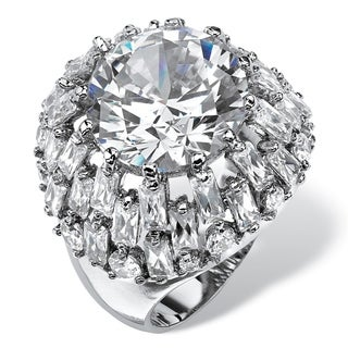 12 TCW Round and Baguette-Cut Cubic Zirconia Dome Cocktail Ring Platinum-Plated Glam CZ