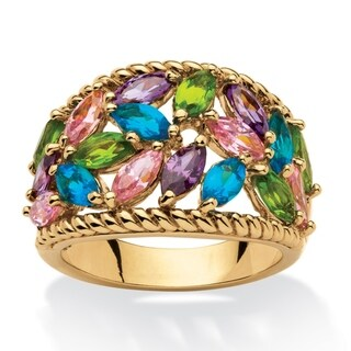 PalmBeach 2.25 TCW Marquise-Cut Multicolor Cubic Zirconia and Glass Cocktail Ring 18k Gold-Plated Color Fun