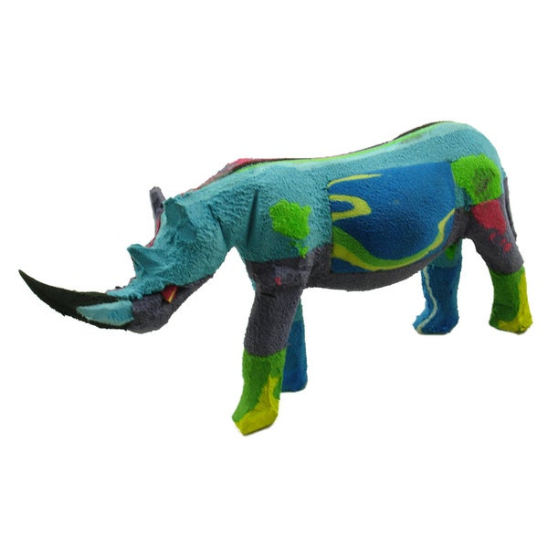 d4b77a51286f Shop Handmade Recycled Flip Flop Rubber Rhino Statue (Kenya) - Free  Shipping On Orders Over  45 - Overstock - 10325602